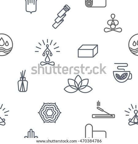 Yoga Seamless Pattern Wellness Symbols Alternative Stock Vector