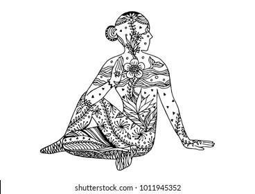 yoga Seated Half Spinal Twist pose 7 chakra vector flower floral leaf hand drawing illustration design (Ardha Matsyendrasana)