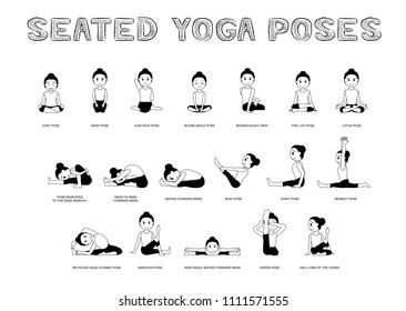 Yoga Seated Poses Vector Illustration Monochrome