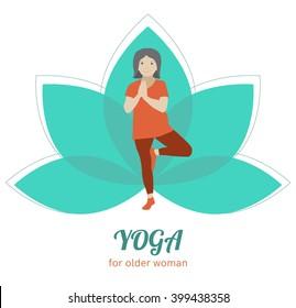 Yoga for seniors logo. Exercises for older woman icon. Sport activity for elderly. Vector flat illustration. Senior healthy lifestyle.