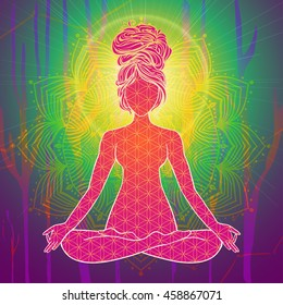 Yoga is a set of different spiritual, mental  physical practices beautiful card with Vector yoga