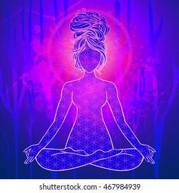 Yoga is a set of different spiritual, mental  physical practices beautiful card with Vector for design textile textures logos  Raja Karma Jnana Bhakti Hatha