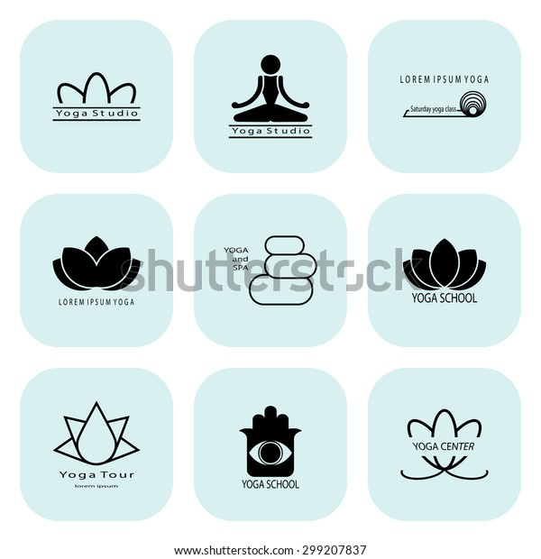 Yoga Set Light Teal Icons Suitable Stock Vector Royalty Free 299207837