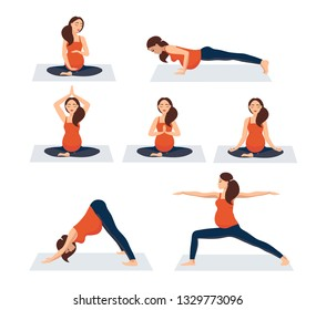 yoga set Pregnant girl doing yoga, exercise, exercise. Active pregnancy. Physical education with the baby. Body care. Vector illustration on white background. Woman in different poses, asanas