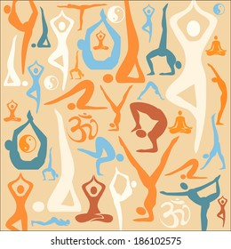 Yoga silhouette icons pattern background. Decorative background with yoga symbols and positions. Vector illustration.