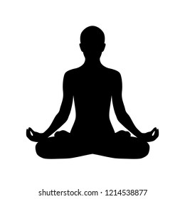 Yoga silhouette padmasana. Lotus pose isolated on white background. Meditation position. Vector clip art.