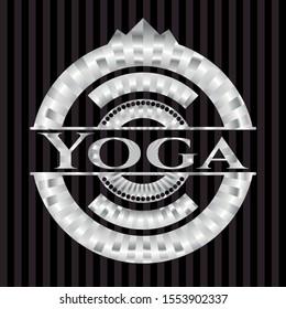 Yoga silver emblem or badge. Vector Illustration. Mosaic.
