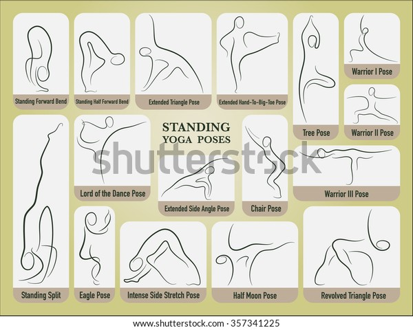Yoga Standing Poses Set Gesture Drawing Stock Vector Royalty Free 357341225