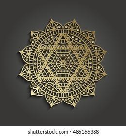 Yoga studio business template with chakra Anahata pictogram. Vector illustration.
