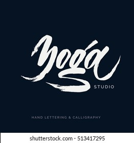 Yoga class stock vectors images vector art shutterstock yoga studio concept logo design elegant hand lettering for your design can be printed m4hsunfo
