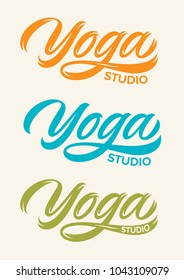 yoga studio, handwritten text, calligraphy, lettering, set