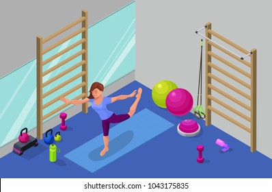 Yoga studio interior with woman doing physical fitness exercise, isometric 3d vector illustration with sport training, relaxation and meditation