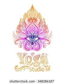 Yoga studio logo concept. All seeing eye ornate composition. Hand drawn vintage style design element. Alchemy, spirituality, occultism, textiles art. Isolated vector illustration for t-shirt print.