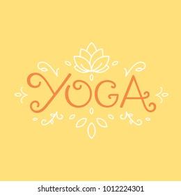 Yoga studio logo concept. Yoga class sticker design. Oriental ornaments sacred geometry lotus element. Hand drawn unalome yoga typographic logotype. Warm tone vintage vector illustration.