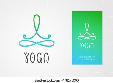 Yoga studio logo design template with man in lotus pose above the infinity sign. Modern colorful style business identity element.