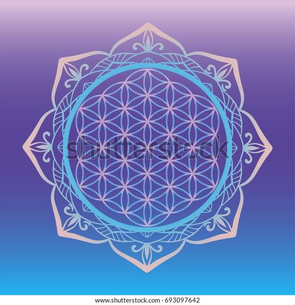 d3195f075 Yoga studio logo, Flower of Life framed with round mandala, sacred geometry  symbols and