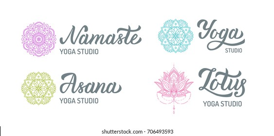 Yoga studio logo set with mandalas isolated on white background. Hand lettering elements. Vector illustration.