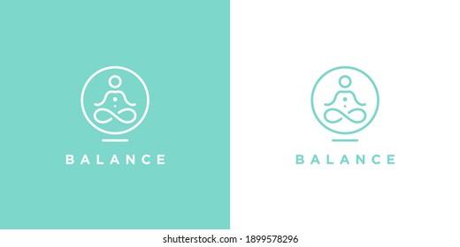 Yoga studio logo. Wellness health spa line icon. Meditation symbol. Zen harmony balance sign. Vector illustration.