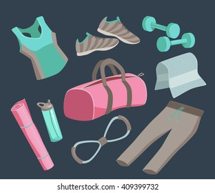Yoga stuff vector illustration icon set. Sport, fitness, stretching, workout, gym accessories. Woman bag. On dark background.