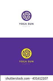 Yoga sun logo template.