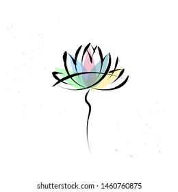 Yoga symbol lotus on white with brushwork style