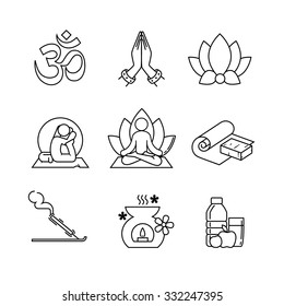 Yoga thin line art icons set. Modern black symbols isolated on white for infographics or web use.