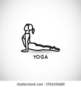 Yoga thin line style vector icon
