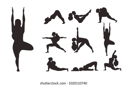 Yoga Training Poses Silhouette Set With Woman. Flat Material Style Vector Illustration