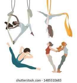 Yoga Trapeze workout girl set in flat style. Flat cartoon set. Isolated flat cartoon character illustration. Workout, training vector illustration. Wellness concept.