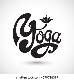 """""""Yoga"""" Unique Hand Written Lettering with Lotus Emblem. Combination of First Letters Looks Like Stylized Aum Symbol. Vector Illustration."""