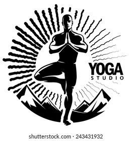 mountain pose yoga vector stock illustrations images