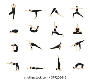 Yoga vector set.  Women Yoga poses set. Woman doing yoga exercises set. Yoga postures silhouette.Figures yoga poses.