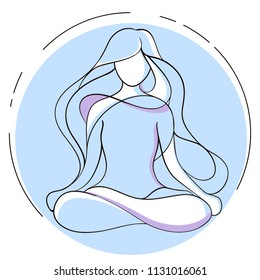 Yoga Vector Silhouette of a Young Woman Sitting in Lotus Position