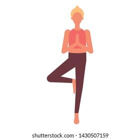 Yoga vrikshasana tree pose. Flat style illustration.