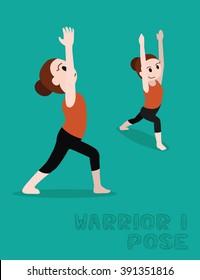 Yoga Warrior I Pose Cartoon Vector