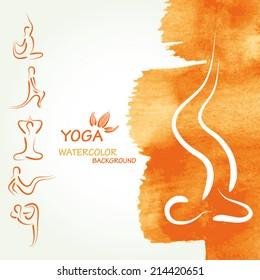 Yoga watercolor background in vector.