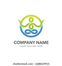yoga wellness logo design vector