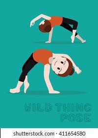Yoga Wild Thing Pose Cartoon Vector Illustration