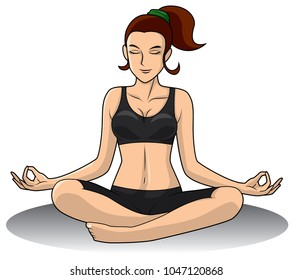 Yoga Woman with black two piece