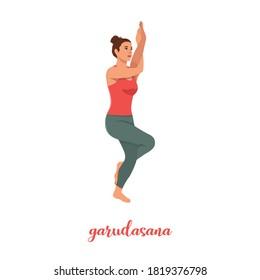 Yoga woman in Garudasana or Eagle yoga pose. Female cartoon character practicing Hatha yoga. Girl demonstrating exercise during gymnastics training. Flat vector illustration.