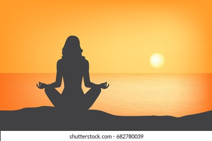 yoga woman lotus pose silhouette sunset background