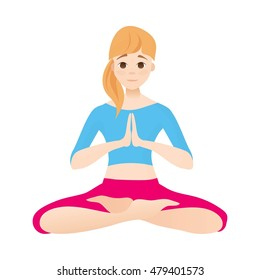 Yoga. Woman in lotus position
