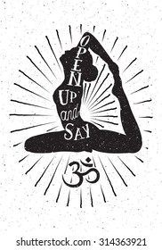 Yoga woman and OM symbol.Hand drawn vector illustration.Inspired typography poster.