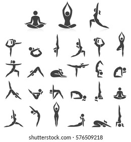 Yoga woman poses icons set. Vector illustrations. Used easy for logo Yoga branding.