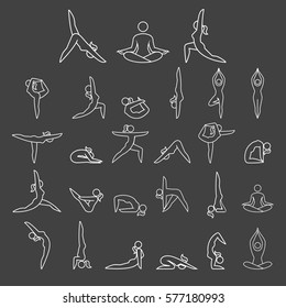 Yoga woman poses line icons style. Vector illustrations.