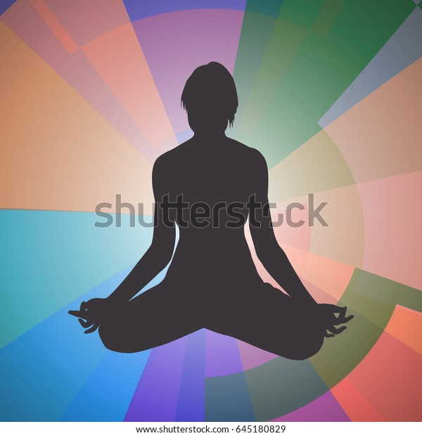 Yoga Woman Silhouette Lotus Pose Abstract Stock Vector Royalty Free 645180829