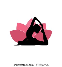 Yoga Woman Silhouette, Pink Lotus Flower Background Logo Design Template