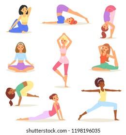 Yoga woman vector young women yogi character training flexible exercise pose illustration set of healthy girls lifestyle workout with meditation balance relaxation isolated on white background
