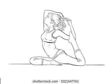 yoga women line drawing