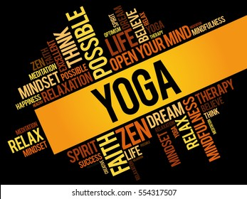 Yoga word cloud collage, concept background